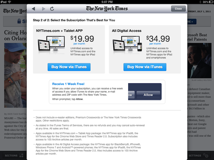 New York Times Offers In App Subscriptions Macrumors