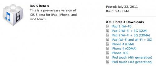 iOS 5 Beta 4