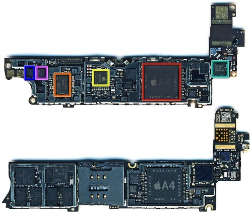 iphone 4 cdma gsm logic board 500x426 Photos of iPhone 4S/5 Logic Board Suggest A5 Processor | Tech NEWS