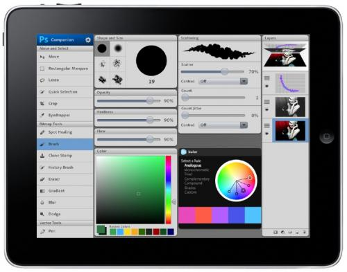Mockup of Photoshop tools on iPad