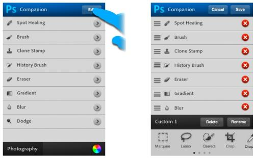 Mockup of Photoshop toolset on iPhone