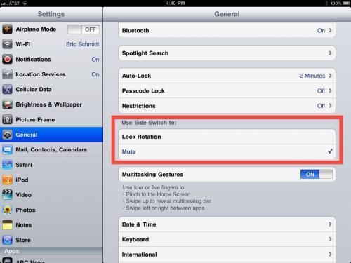 iPad'e yeni bir özellik, ekran kilidi ya da ses kapatmak