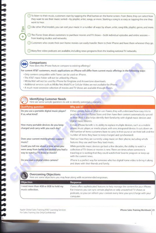leaked alleged iphone sales training manual apple iphone review rh appleiphonereview com Modern Sales Techniques New Training Manual