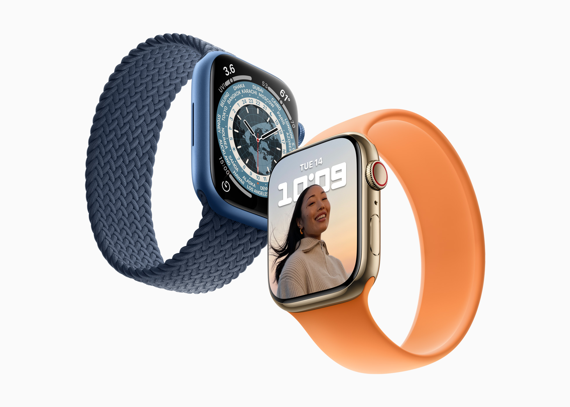 apple watch series 7 blue and gold