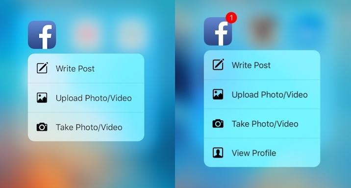 Facebook iOS app Quick Actions