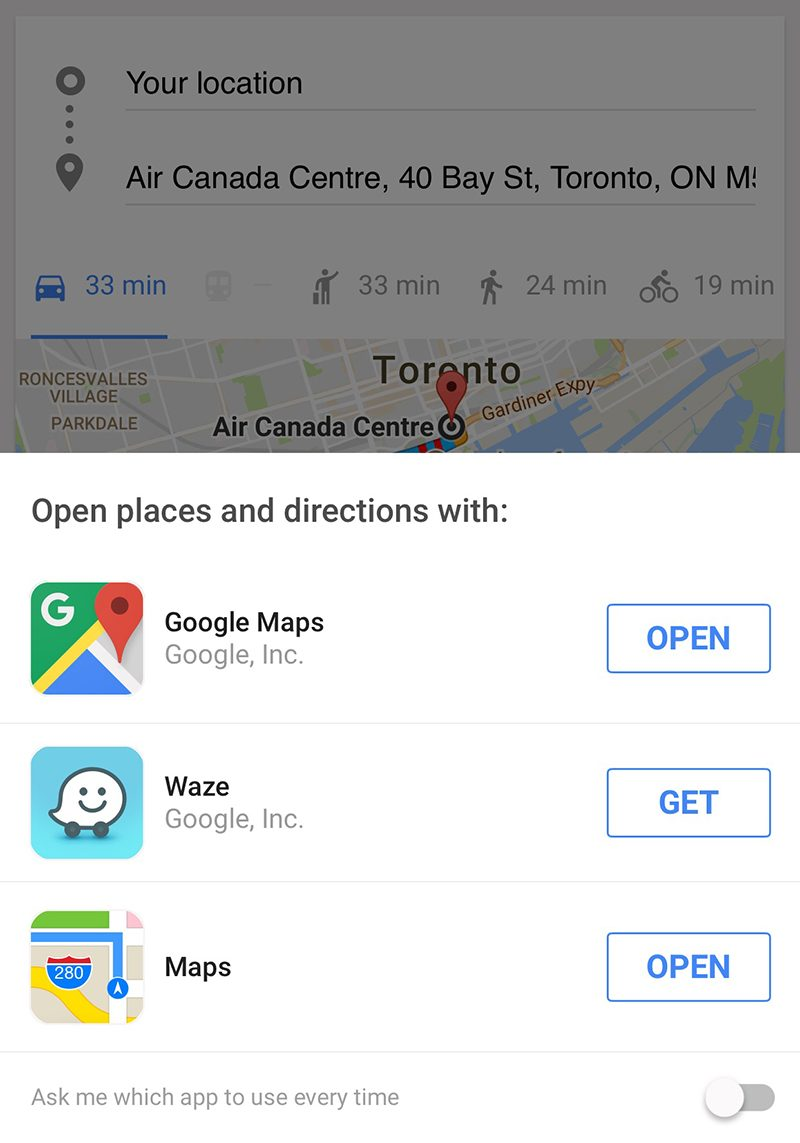Google App Now Lets You Get Directions With Apple Maps or ... on edmonton map directions, amazon rainforest map directions, car map directions, california map directions, cache creek map directions, africa map directions, maine map directions,