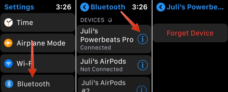 disconnecting Powerbeats Pro from Apple Watch