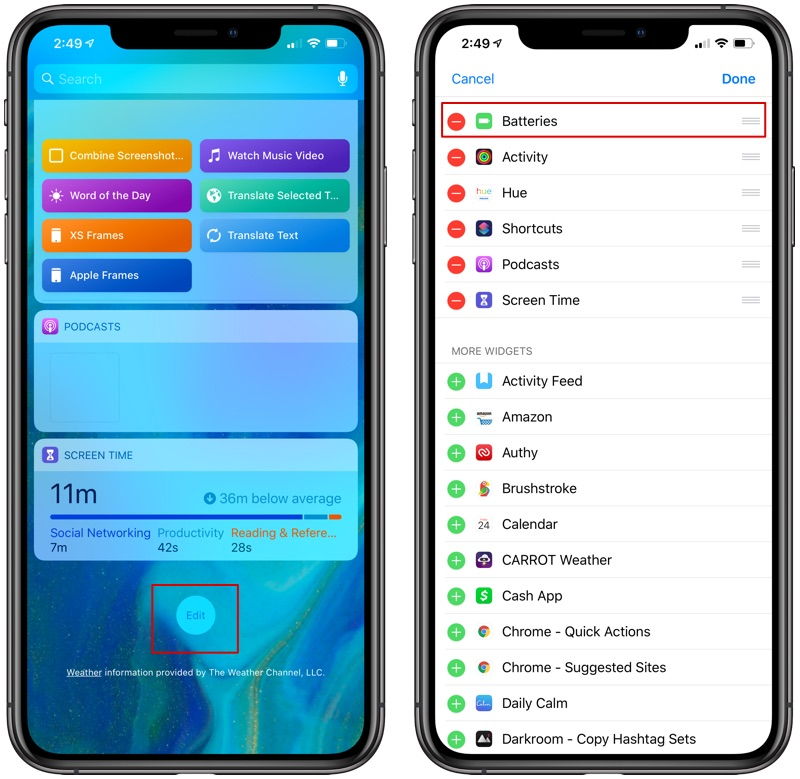 turning on widgets in the Notification Center