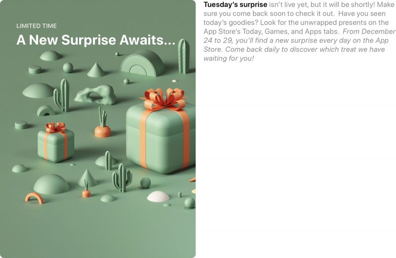 Apple's App Store holiday giveaway starts today