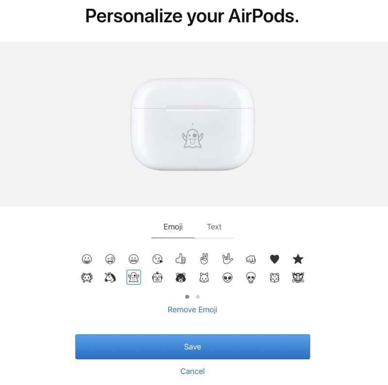 إمكانية الحصول على AirPods بنقش إيموجي أو نص 1