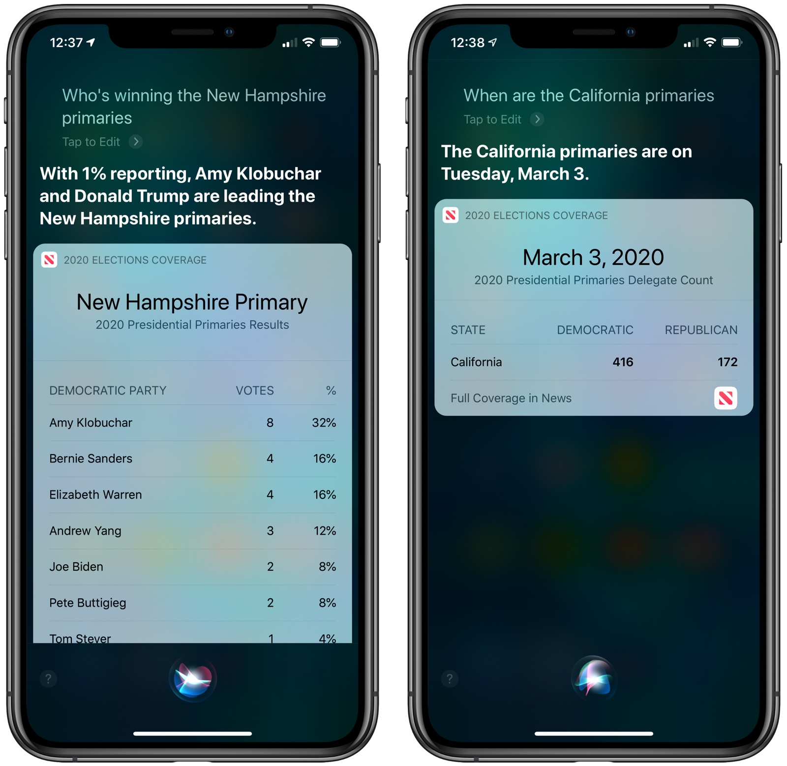 photo of Siri Now Able to Answer U.S. Election Questions image