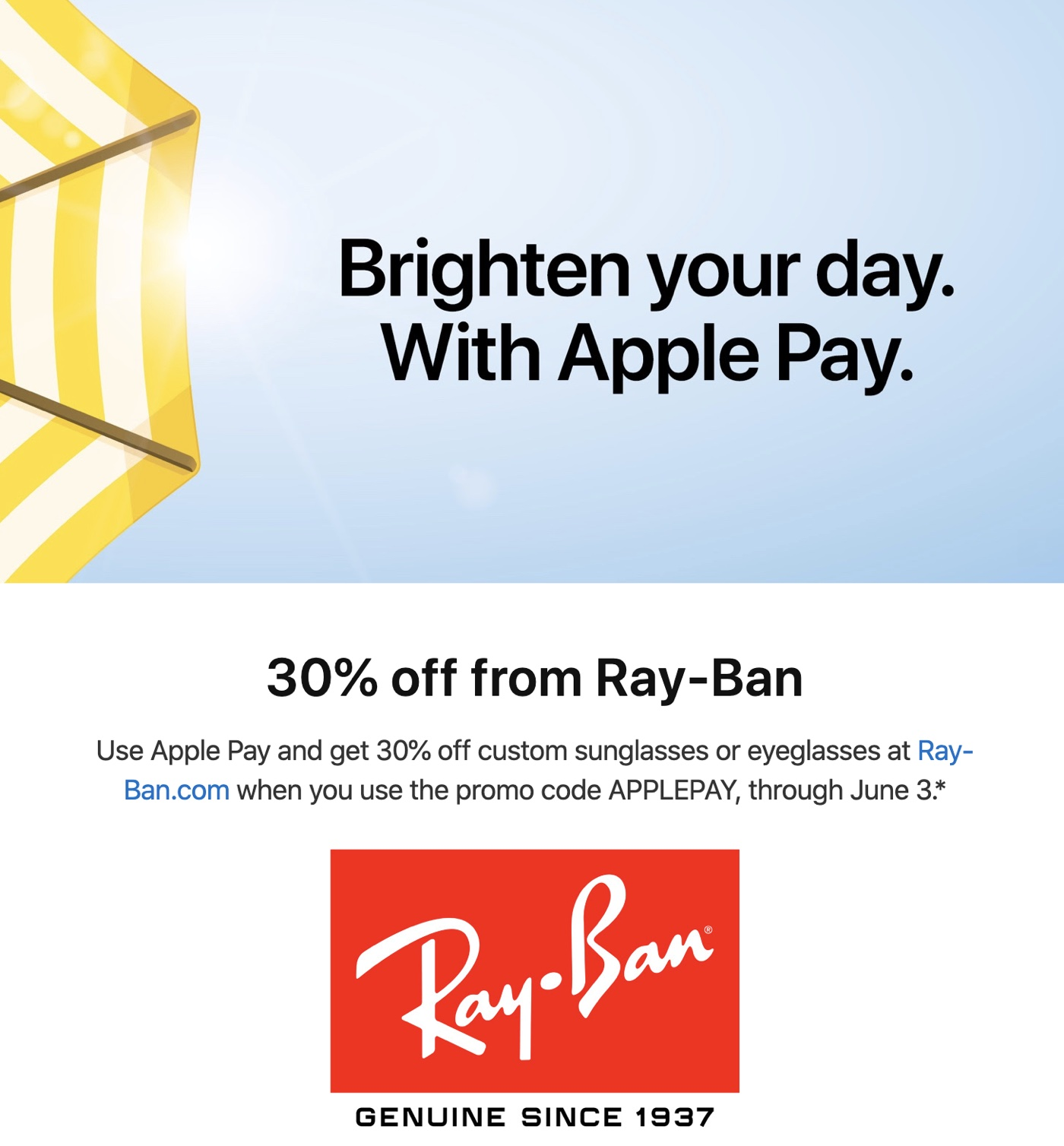 photo of Apple Pay Promo Offers 30% Discount From Ray-Ban image