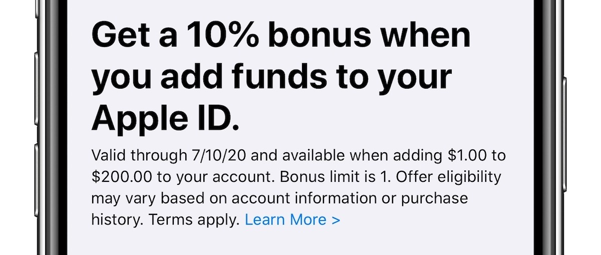 photo of Get a 10% Bonus When Adding Funds to Your Apple ID Through July 10 image