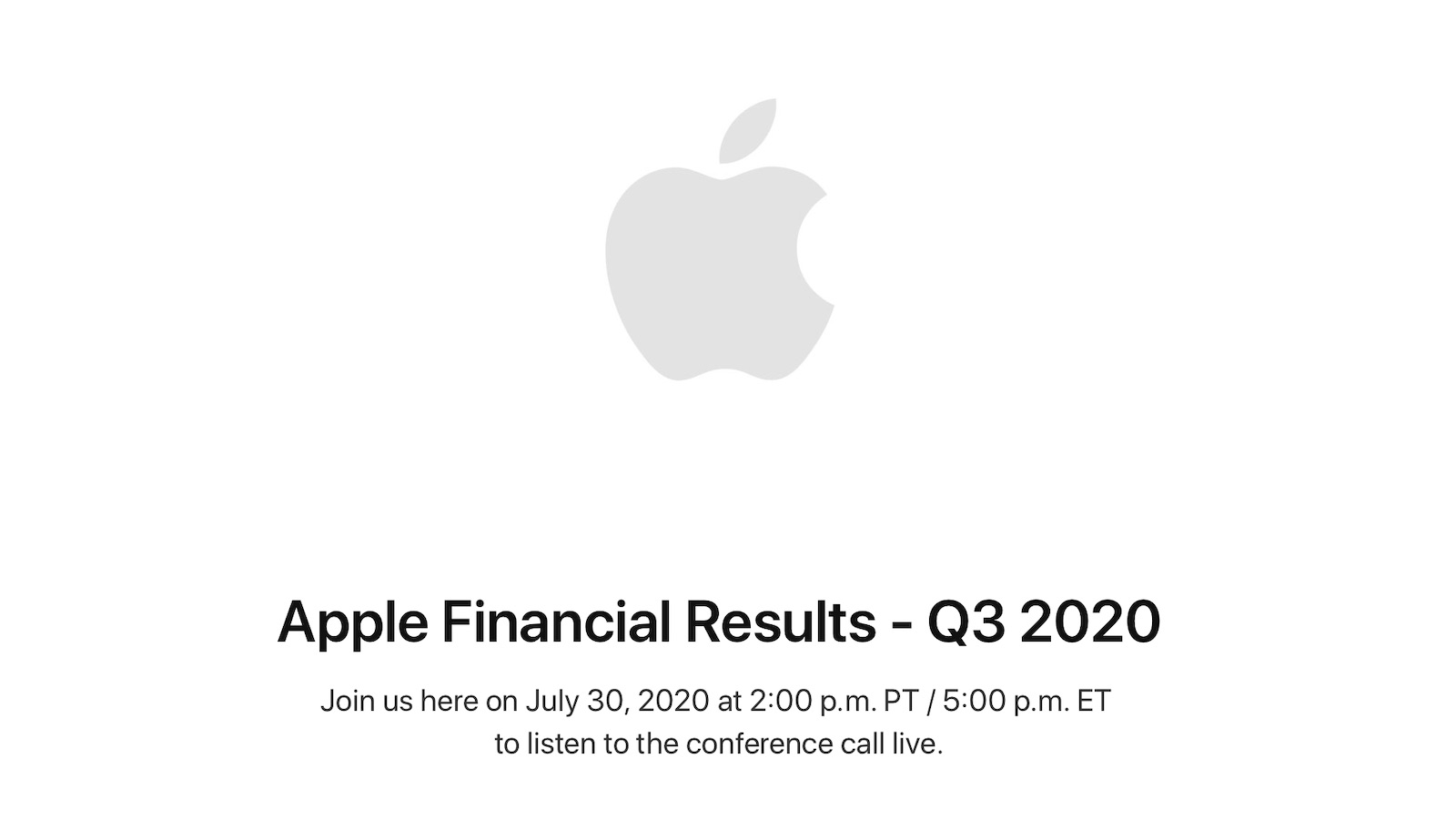 photo of Apple to Announce Q3 2020 Earnings on July 30 image