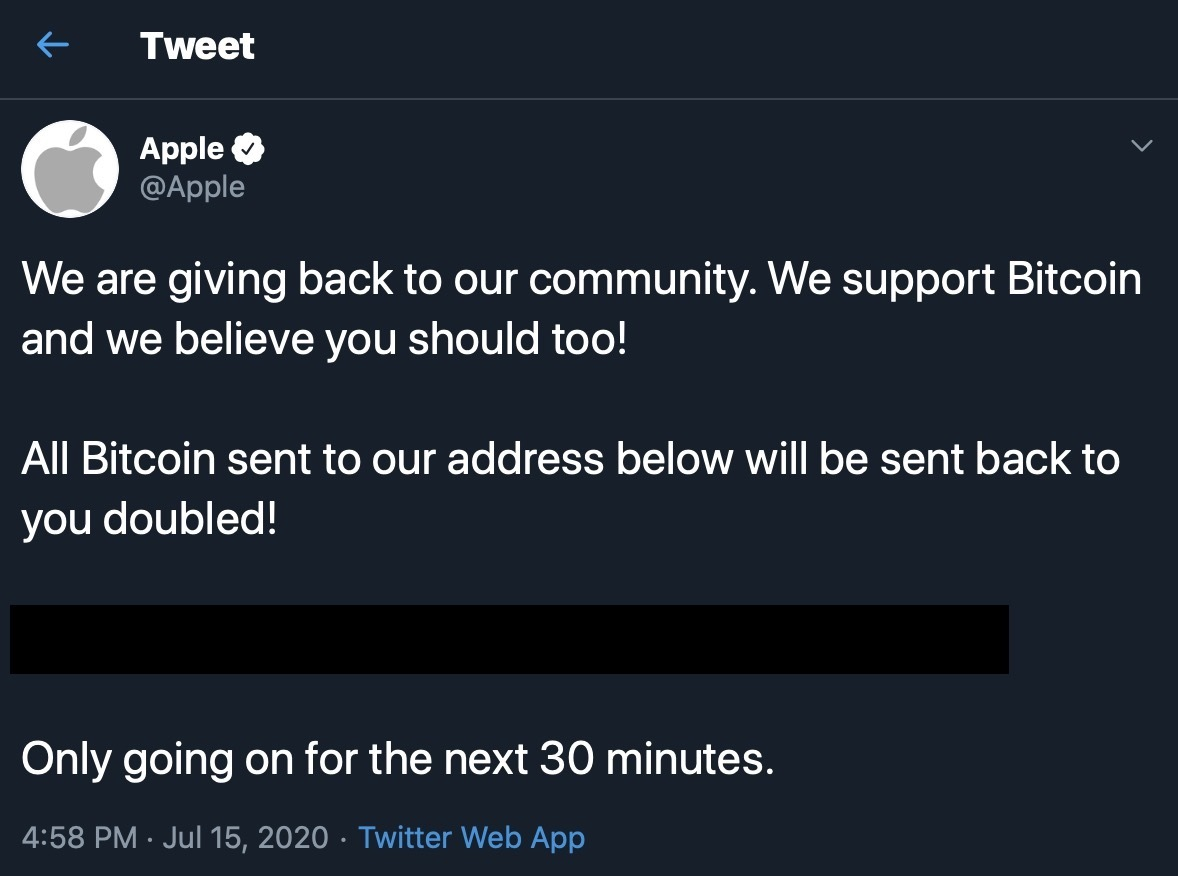 Apple's Twitter Account Hacked by Bitcoin Scammers thumbnail