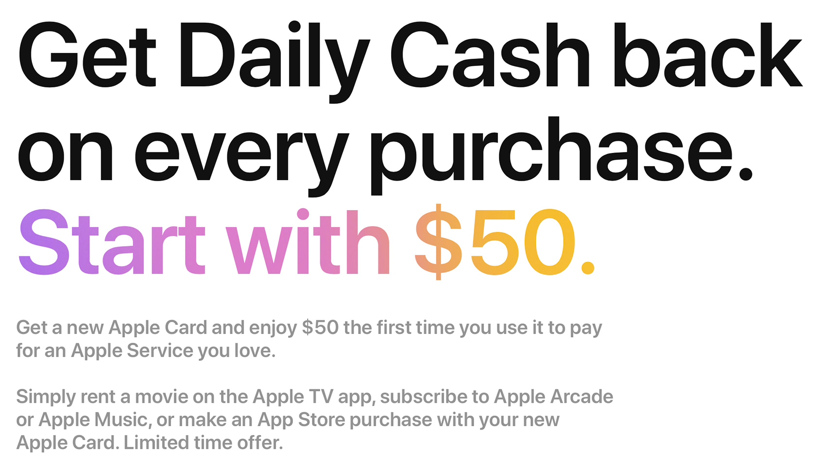 photo of Apple Card Promo Offers New Users $50 in Daily Cash for First Apple Service Purchase image