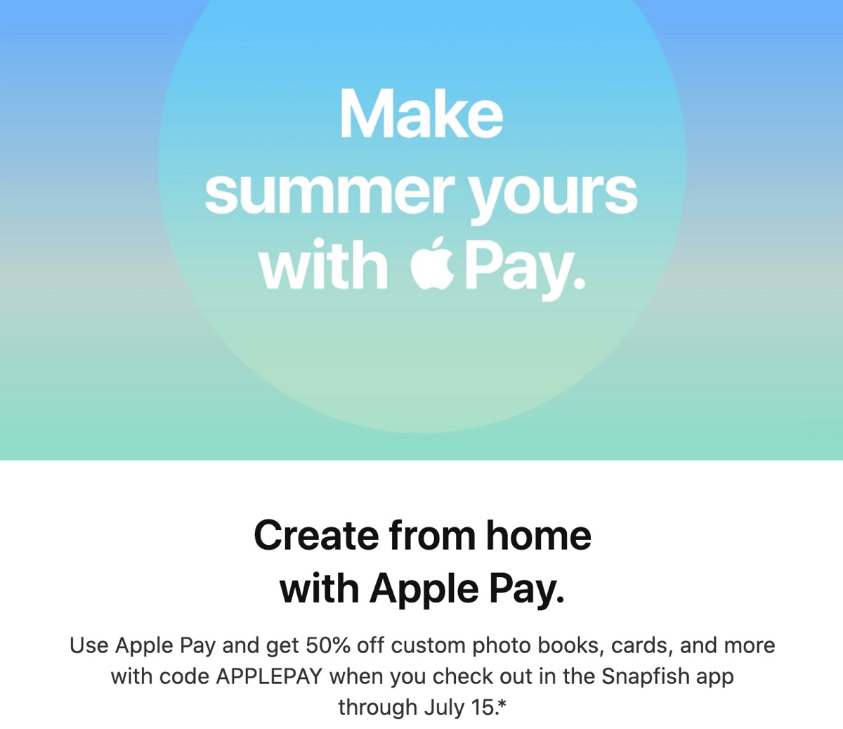 Apple Pay Promo Offers 50% Off Snapfish Purchases