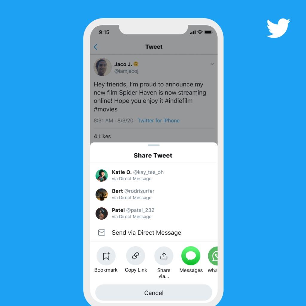Twitter Rolls Out New 'Share Tweet' Menu in iOS App