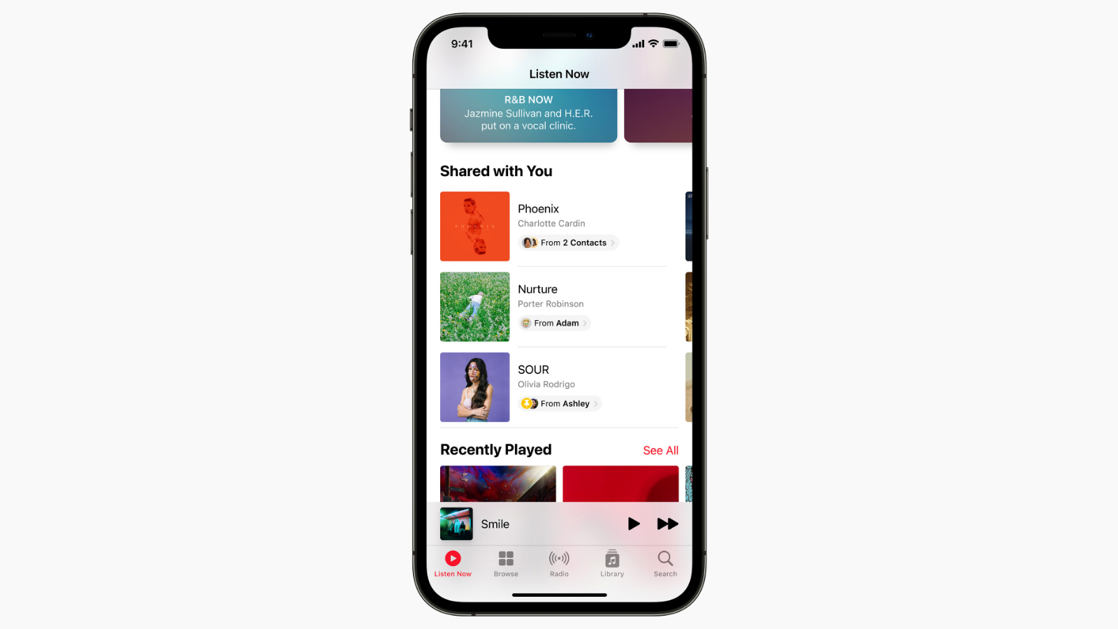 ios15 music shared with you