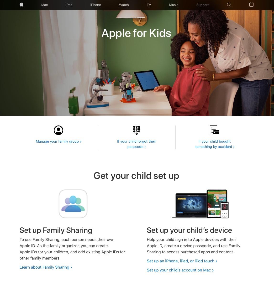 apple for kids support portal