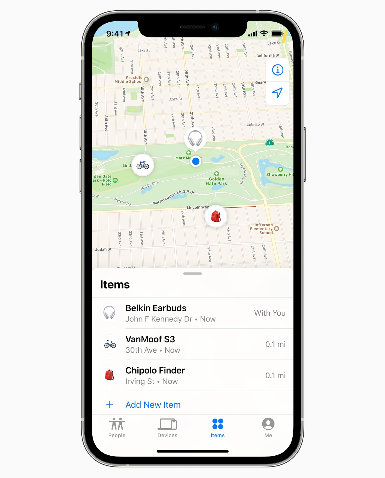 find my app items tab