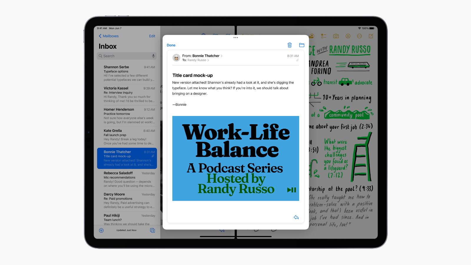 ipados 15 multitasking mail notes