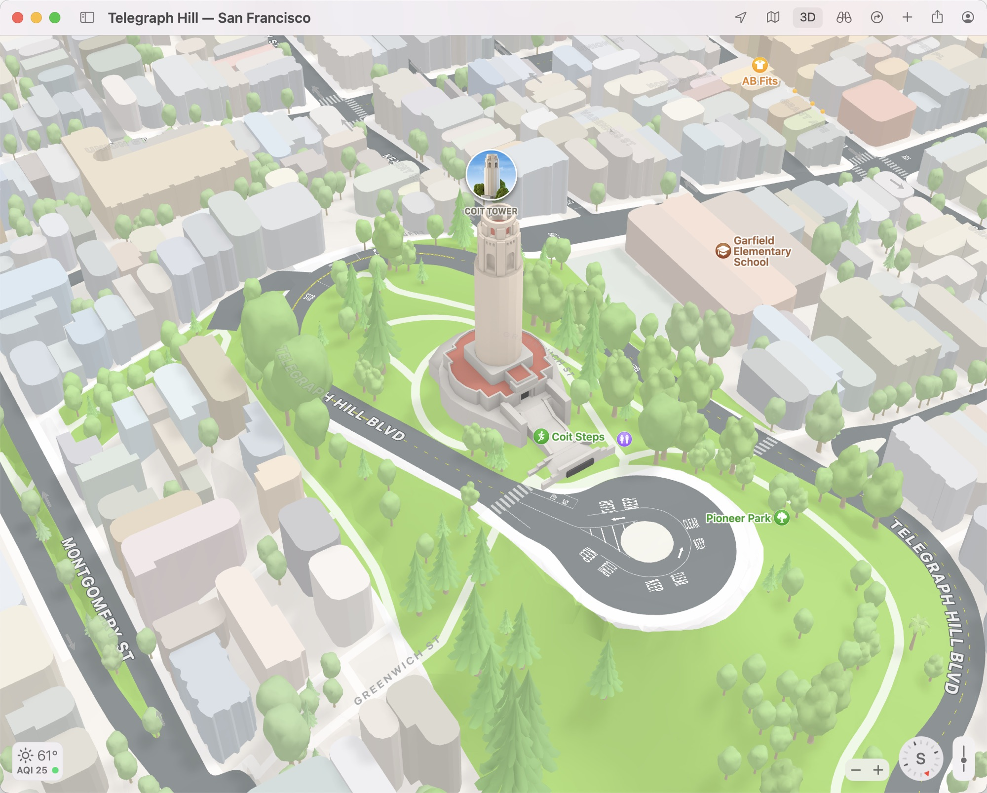 maps monterey 3d view coit tower