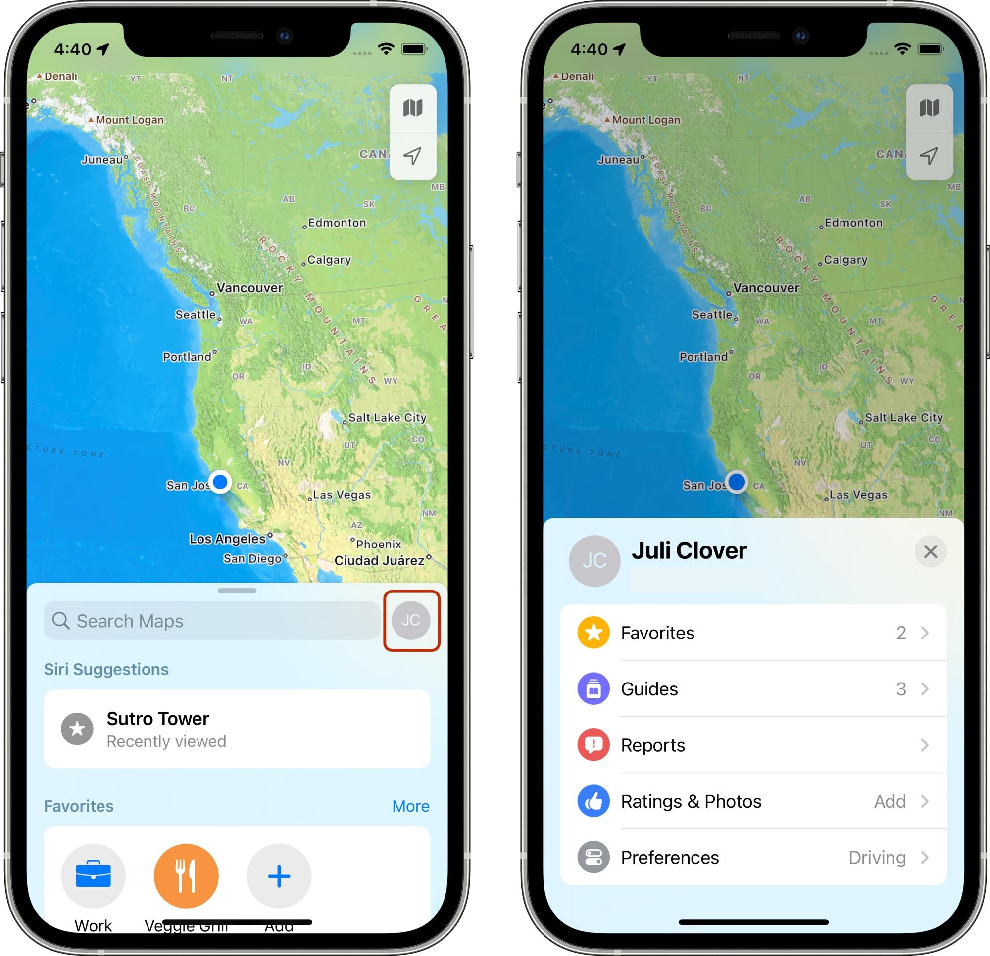ios 15 maps profile