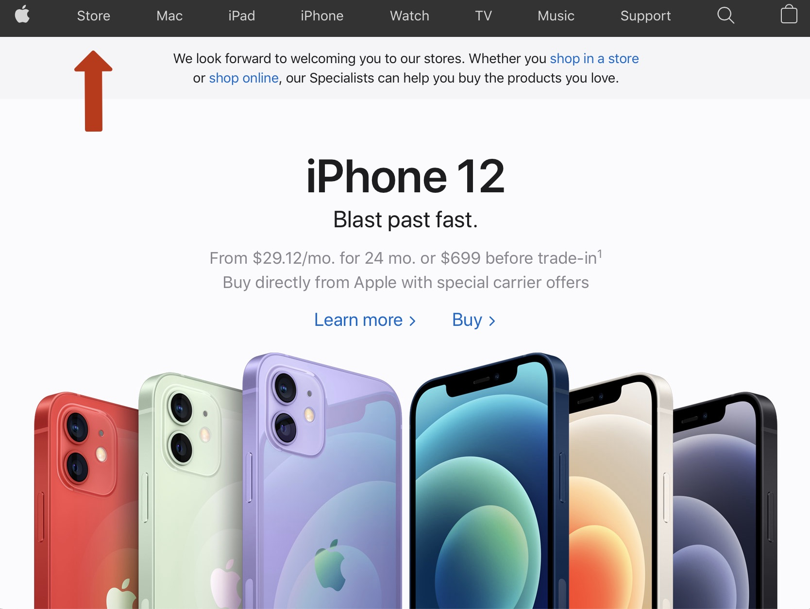 apple store new website section