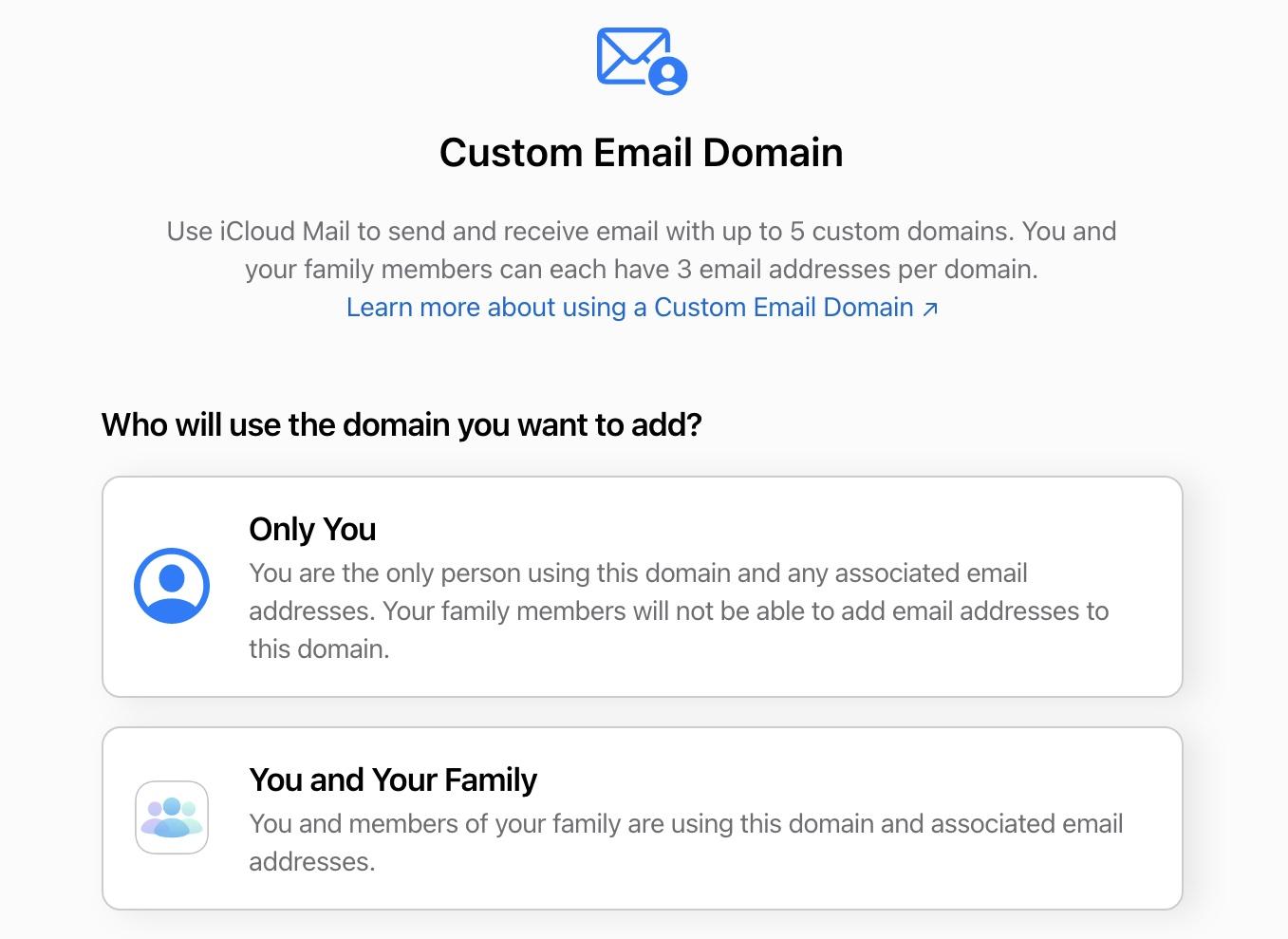 icloud custom email domain
