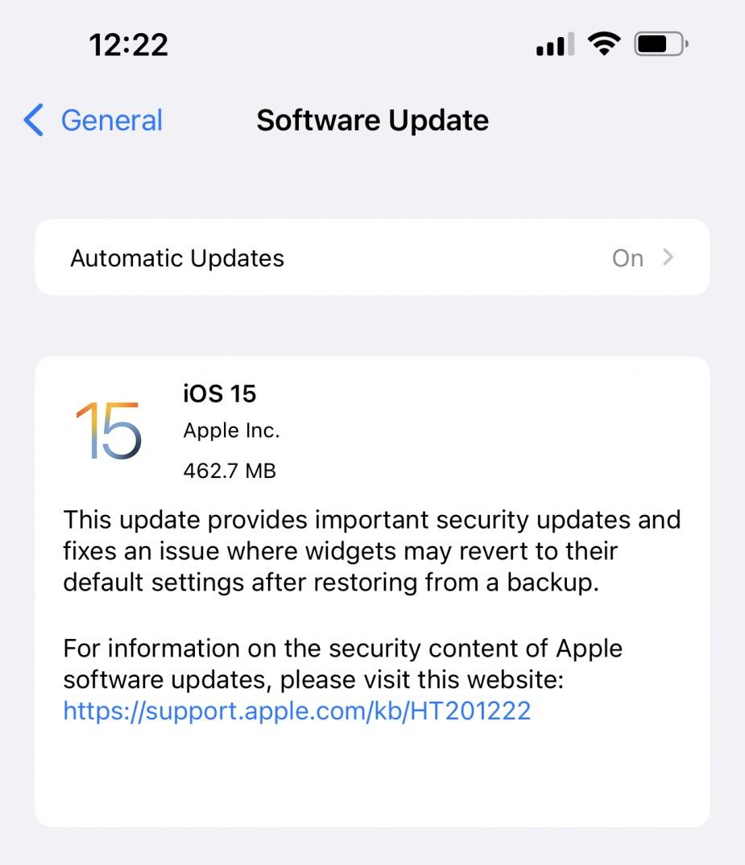 apple ios 15 security update