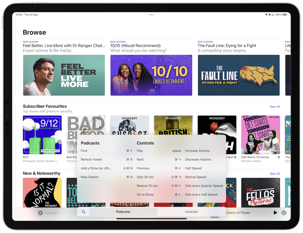 ipados 15 podcasts app keyboard shortcuts