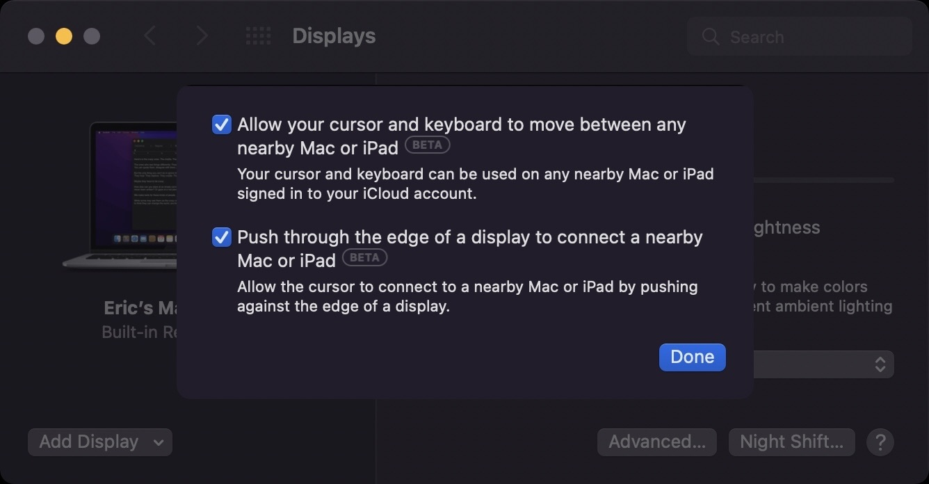 photo of Universal Control Remains Unavailable in macOS Monterey Beta 10, But Now Has 'Beta' Label image