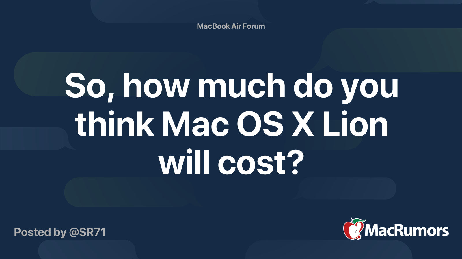 So, how much do you think Mac OS X Lion will cost ...