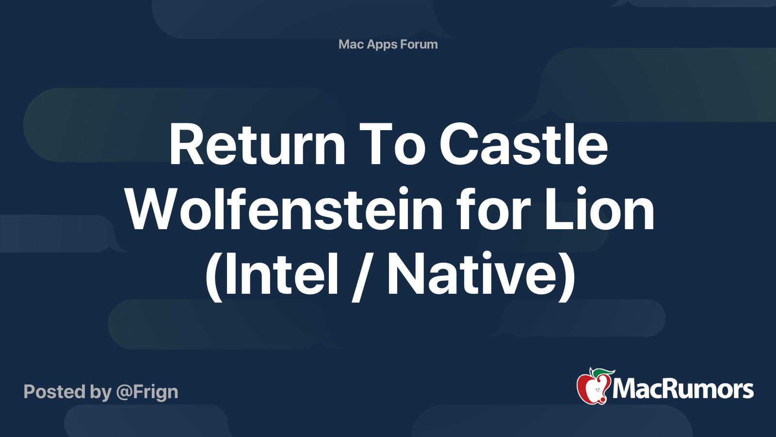 Return To Castle Wolfenstein For Mac Os X