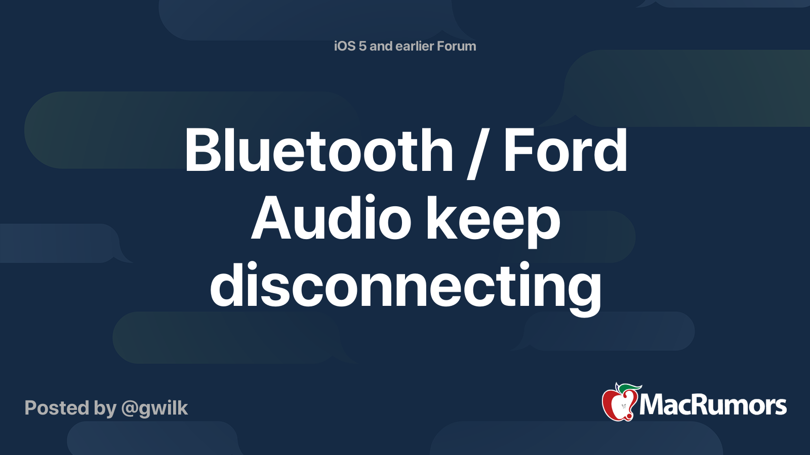 Bluetooth Ford Audio Keep Disconnecting Macrumors Forums