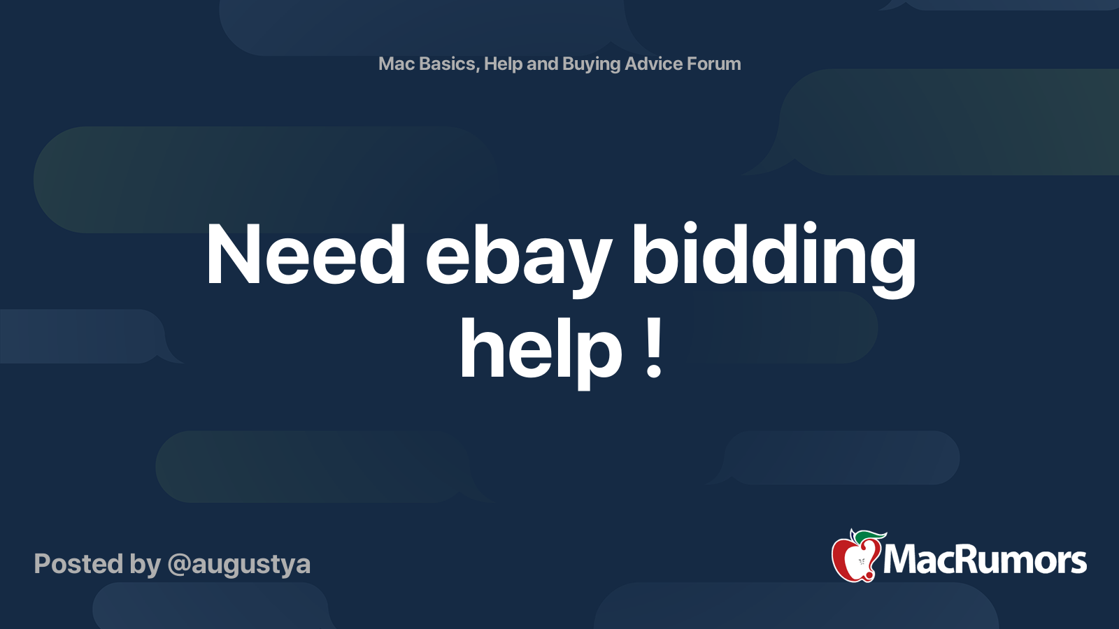 Need Ebay Bidding Help Macrumors Forums