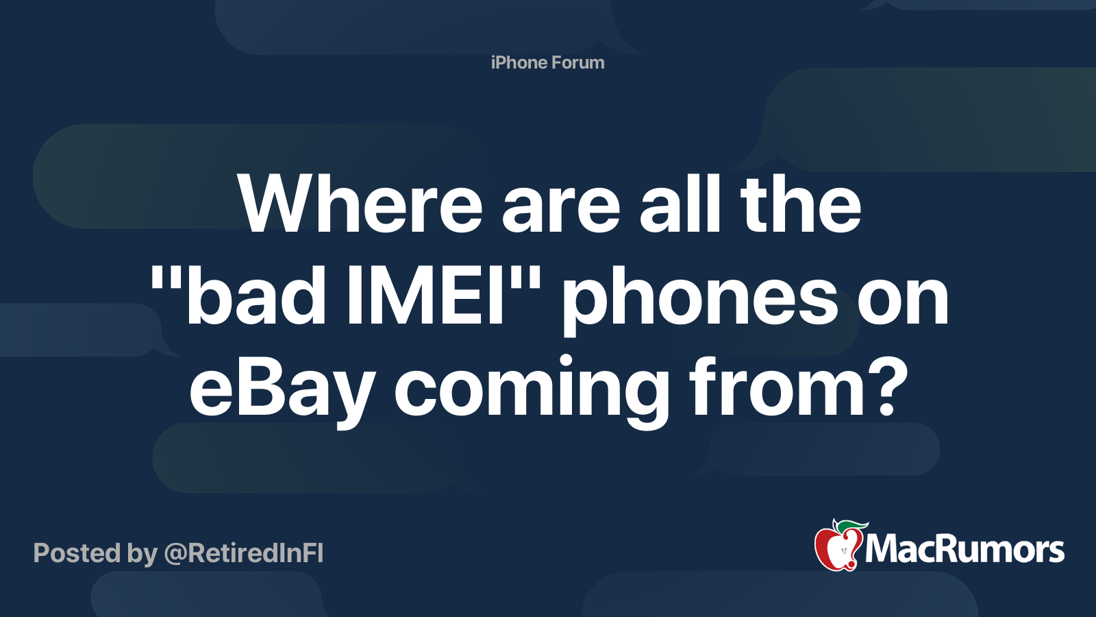 Where Are All The Bad Imei Phones On Ebay Coming From Macrumors Forums
