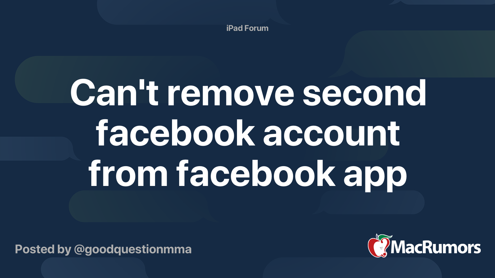 Cant remove second facebook account from facebook app