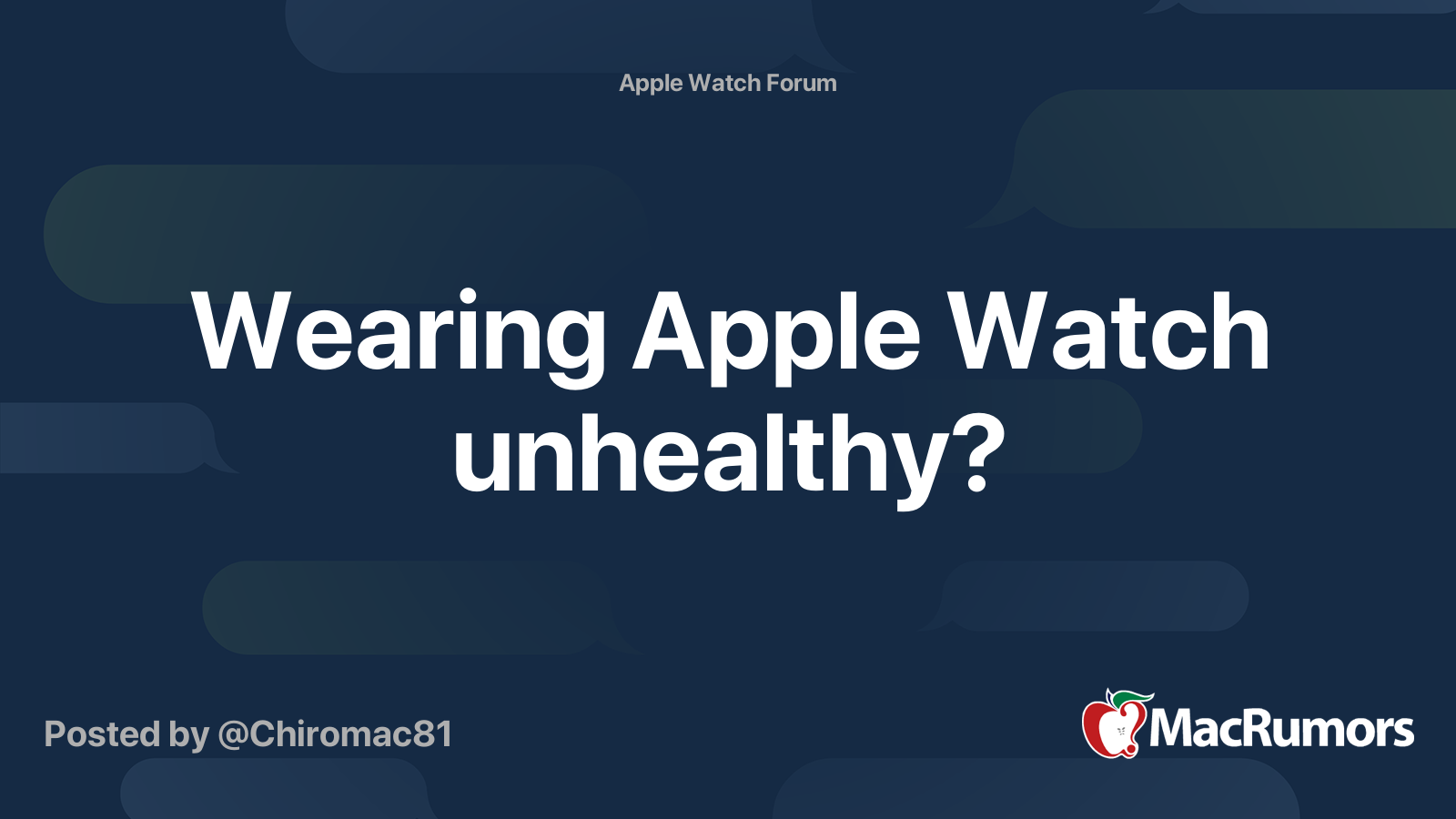 Wearing Apple Watch Unhealthy Macrumors Forums