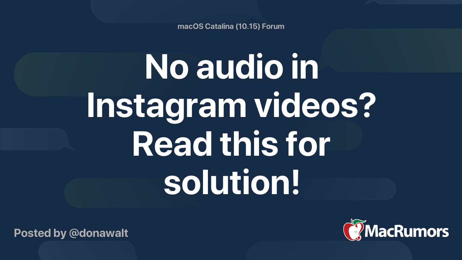 No Audio In Instagram Videos Read This For Solution Macrumors Forums