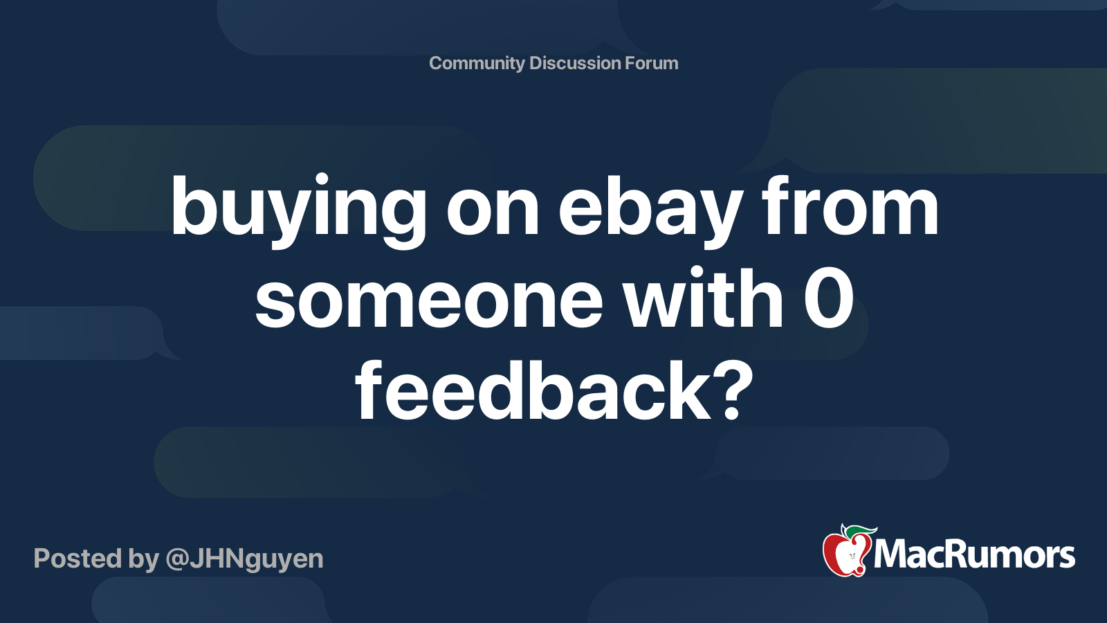 Buying On Ebay From Someone With 0 Feedback Macrumors Forums