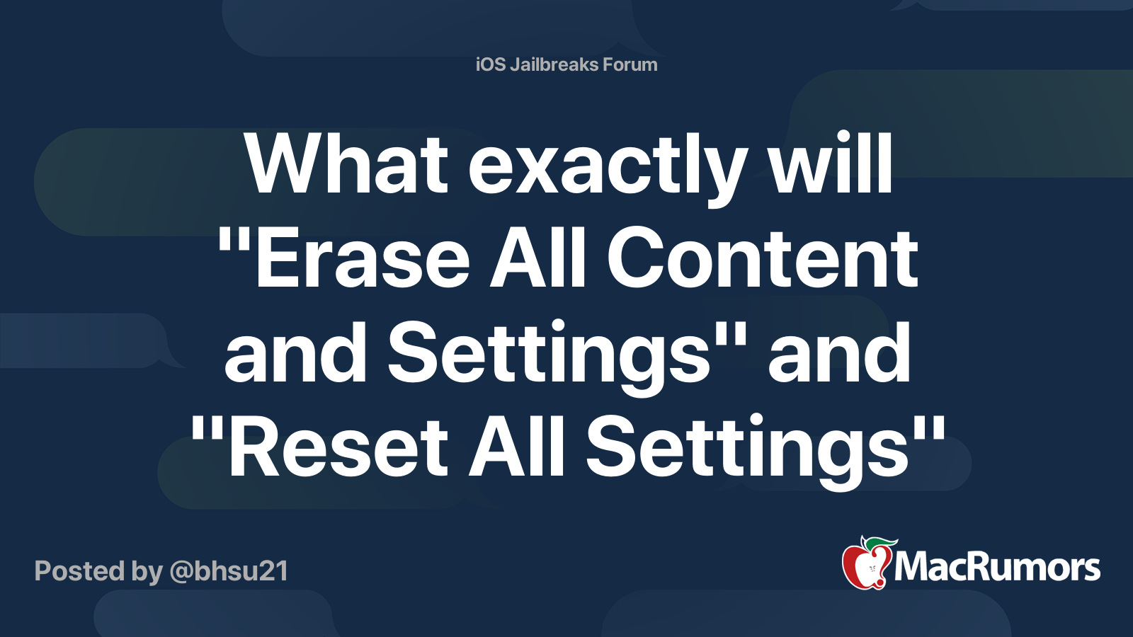 """What exactly will """"Erase All Content and Settings"""" and ..."""