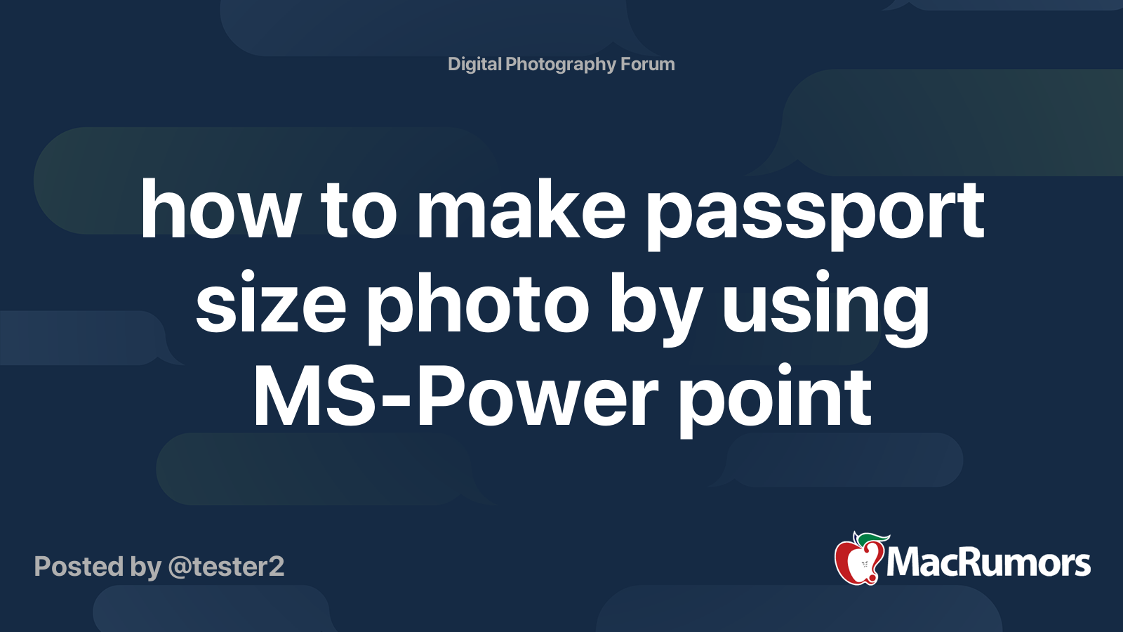How To Make Passport Size Photo By Using Ms Power Point Macrumors Forums