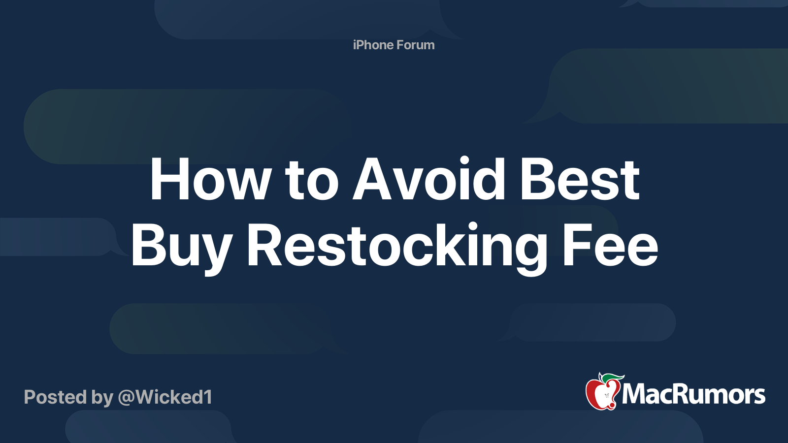 How To Avoid Best Buy Restocking Fee Macrumors Forums