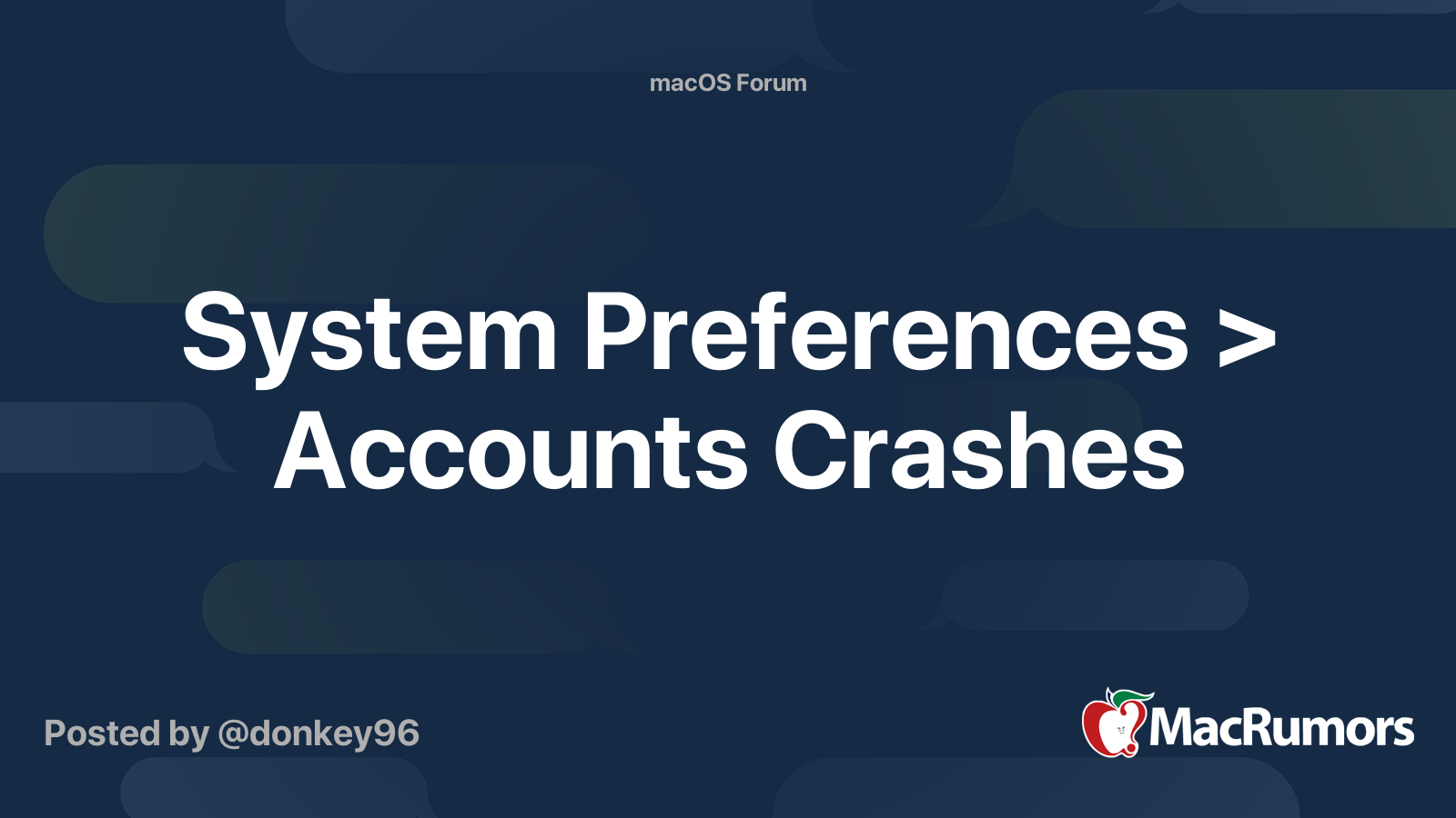System Preferences > Accounts Crashes | MacRumors Forums