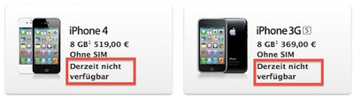 iphone 4 3gs unavailable germany