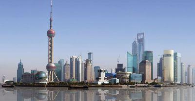 china shanghai skyline fluss