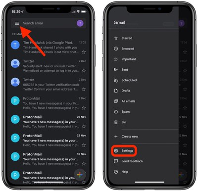 2how to enable dark mode in the gmail app for ios