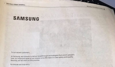 Samsung apology letter